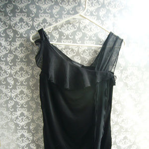 The Limited Black Assymetrical Ruffle Top - Med